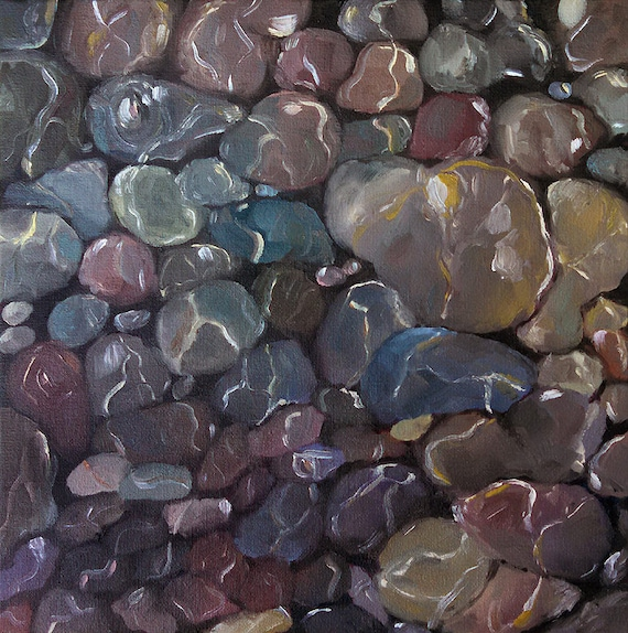 Creekbed pebbles, abstract dark red painting, water, stones, magenta pebbles under water, creek summer, abstract art, abstract rocks, square