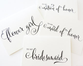 To My Bridesmaid Card, To my Maid of Honor, Wedding Party Thank You Cards, Thank you for Being My Bridesmaid card, (Set of 5), WCP02