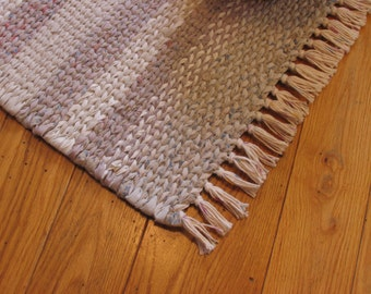 Country Rag Rug.  Hand Twined  with Hand Tied Fringe in Various Shades of Tan. (Free Shipping)