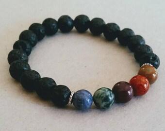 Pierres précieuses de multi-couleur 8 mm diffuseur Bracelet avec perles de lave