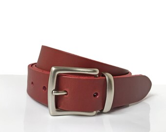"Burgundy Dress Belt - 1"" 1/4 - Handmade In UK - Silver Buckle - Groomsmen - Burgundy Mens Belt - Burgundy Belt - Thin Mens Belt"