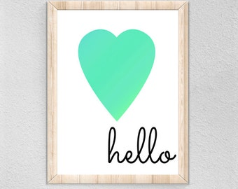 Hello Digital Print, Nursery Printable, Wall Art