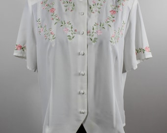 Vintage Laura Scott Dainty Embroidered Short Sleeved Blouse sz L