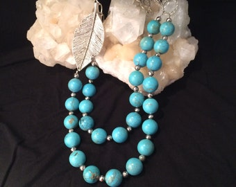 Turquoise and coated pyrite statement necklace