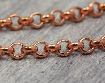 Rose Gold Chain - Round Cable Chain - 4mm - Soldered Solid Brass - 10 Feet