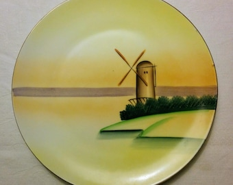 Hand Painted Plate, Vintage, Meito China, Dutch Windmill Design, Made in Japan, 9-inch diameter