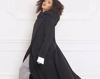 Wool Coat, Long Coat, Hooded Coat, Women Coat, Winter Coat, Maxi Coat, Trendy Plus Size, Cashmere Coat, Black Coat, Women Hoodie,Long Jacket