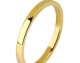 Mothers Day Sale 14 kt  Yellow Gold Classic Smooth Cigar Style 2mm Wide Commitment or Wedding Band Custom made Size 4 through 14