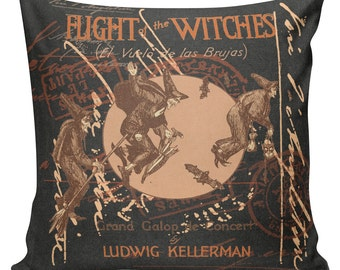 Halloween Flight of the Witches Witch Burlap Cotton Throw Pillow Cover #HA0043 Elliott Heath Designs
