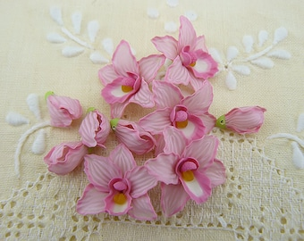 Pink Orchids Flowers,  Polymer Clay Flower Beads, Pink Flowers, Orchids, Tropical Flowers, Set 5 Flowers and 5 Orchids Buds