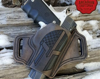3 inch or Pass Through Handmade Spartan Helmet with a Thin Blue Line 1911 Pistol Holster with Combat Cut Draw, American Flag