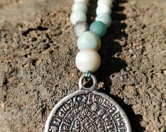 Long Necklace, Gemstone Necklace, Amazonite Necklace, pendant Necklace,