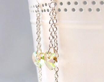 Crystal Dangle Earrings, Green Shade Heart Swarovski Element , Bridal earrings, Crystal earrings, Bridesmaids gift, Champagne earrings