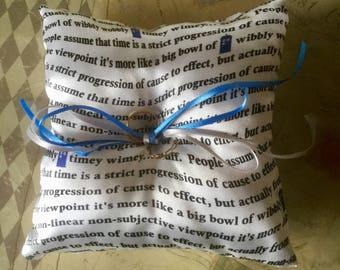 Dr Who  Comic Con Geek Wedding Ring Cushion Pillow