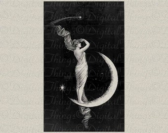 Crescent Moon Goddess Stars Wall Decor Art Printable Digital Download for Iron on Transfer to Tea Towel Fabric Pillows DT109