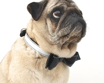 Dog Collar - Black and White Oreeo Martini Bowtie Collar