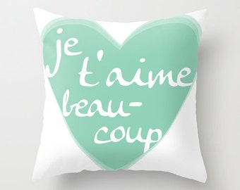 Je T'aime Pillow With Insert - Mint Green Heart - Pastel Home Decor - I Love You Accent Pillow - Valentines Day -  French Text