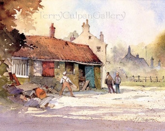 Cottage Building House Refurbishment Conversion Workman Stable Block Owners Property Illustration Watercolour Print New Home Gift Wall Art