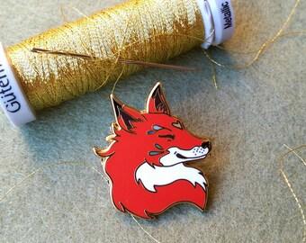 Burnt Orange Farthing Fox Hard Enamel Pin - Lapel pin, brooch, pins, red fox pin, woodland, folk, forest, nature, earthy, animals, fox pin