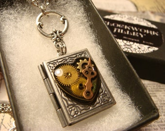 Steampunk Style Heart with Watch parts and Gears Book LOCKET Necklace-  (2382)