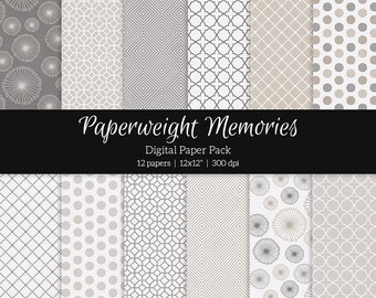 """Digital patterned paper - Linen and Ash -  textured papers, digital scrapbooking - scrapbook paper - 12x12"""" 300dpi  - Commercial Use"""