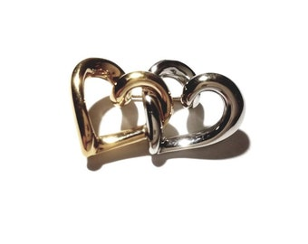 Vintage 14K Signed Yellow and White Gold Hearts Pin Brooch