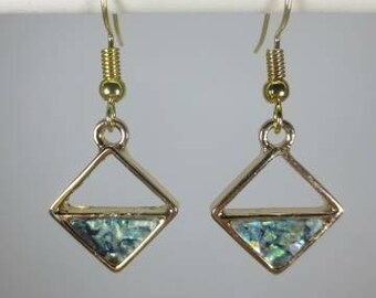 Gold diamond shape with opal/bluish-green stained glass look triangle dangle earrings