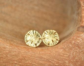 Sand dollar earrings - stud earrings - sand dollar studs - a mighty cute pair of golden brass sand dollar stud earrings