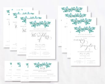 Succulents Eucalyptus Branches Day & Evening Invitation, Reply card, Wedding Printable.