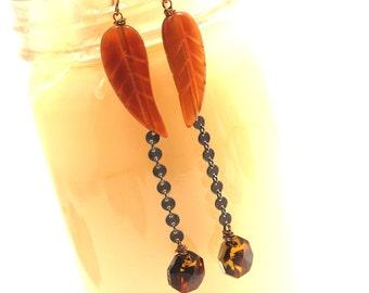 Long Feather Earrings BIG Golden red Horn Native American Inspired Carved Dark Oxidized Sterling Silver Dangles Orange Swarovski Crystal