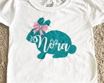 Easter bunny shirt easter shirt for kids bunny with name and bow