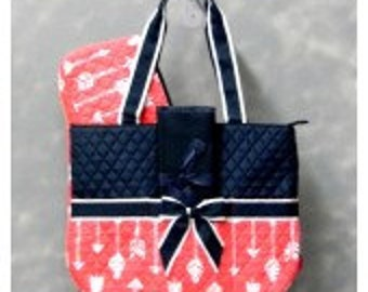 Machine Embroidered Quilted Diaper Bag- Arrow Pattern in Black or Coral
