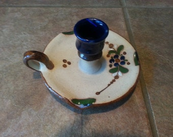 Vintage Mexico Mateos Folk Art Sandstone Pottery Candlestick Holder Beautifully Hand Painted, Excellent Condition, Signed Bottom