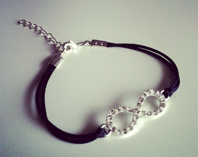 Black cord with silver rhinestone infinity sign bracelet