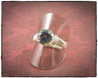Mystic Topaz Ring, Size 8 Ring, Sterling Silver Ring, Wire Wrapped Ring, Gemstone Ring, Birthstone Ring, Solitaire Ring