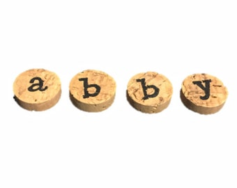Personalized Magnets, Wine Cork Magnets, Fridge Magnets, Name Magnets, Wine Lovers, Refrigerator Magnets, Wine Theme Magnets, Gift for Her