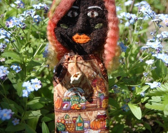Kitchen Witch Doll - Needle Felted Art Doll - Spirit Doll - Summer Decor - Pagan Art - Witch Altar Tools - Mixed Media Doll - Foodie Nature
