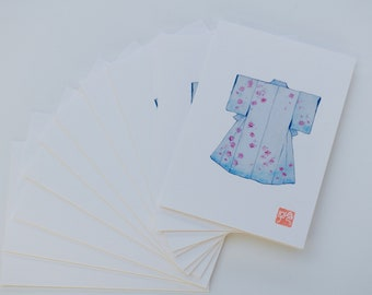 Set of 10 cards, message card, birthday card, watercolor drawing of a kimono, Japanese art, blue kimono with sakura cherry blossom