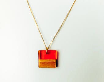 Dainty Wood Resin pendant on gold filled chain