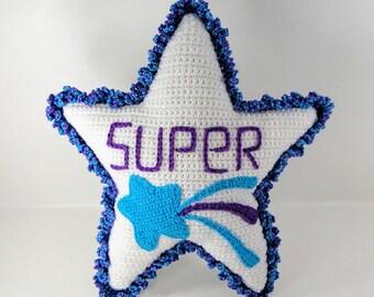 Crochet Pattern - Superstar Pillow Crochet Pattern - Star Pillow #104 - Instant Download PDF