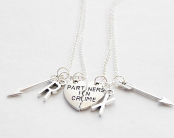 Partners in Crime Necklace Set, Set of 2 Necklaces, Partners in Crime Necklaces, Best Friends Necklaces, Arrow Necklaces, Maid of Honor Gift