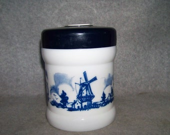 Vintage Origineel Opaline Humidor Valkenswaard Holland Windmill Ship