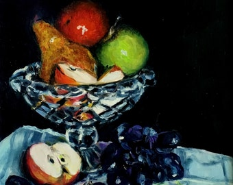 "Fine Art Print of My Original 6 X 6 Still Life Oil Painting ""Fruit Compote"""