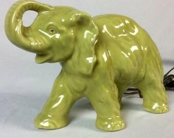 Vintage 1950s Chartreuse Elephant TV Lamp