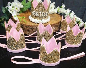 Gold Glitter Bride To Be Hen Do Crown || Bachelorette Crown