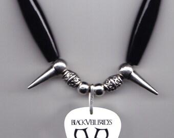 Black Veil Brides White/Black Guitar Pick Necklace