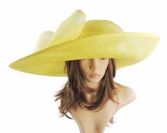 Yellow Big Sinmay Hat for Kentucky Derby, Weddings, Ascot, Garden Parties