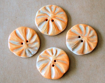 4 Handmade Stoneware Flower Buttons - Poppy buttons in Sweet Orange