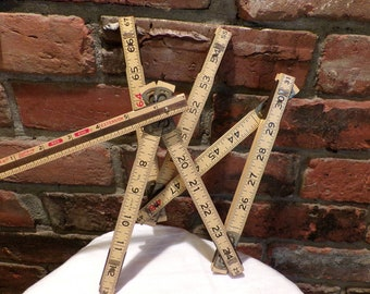 Lufkin X46 Folding 6 foot wooden extension rule, Wood extension ruler with brass slide, 1950's prop, Morethebuckles