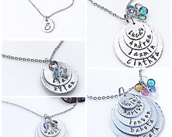 Personalized Charm Necklace - Silver - Mother's Necklace - Stacked Tiers with Children's Names - Hand Stamped Necklace